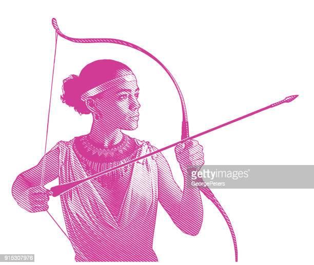 ilustraciones, imágenes clip art, dibujos animados e iconos de stock de heroína de mujer de raza mixta con el objetivo de arco y flecha. - roman goddess