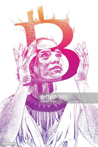 Mixed race woman holding hot Bitcoin