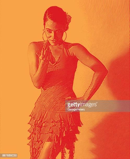 mixed race woman salsa dancing and flirting gesture. - salsa music stock illustrations, clip art, cartoons, & icons