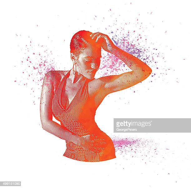 mixed race woman salsa dancing - dancing stock illustrations, clip art, cartoons, & icons