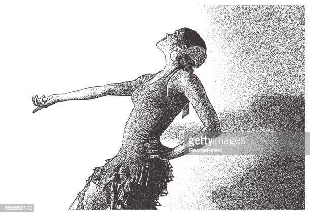 mixed race woman salsa dancing - salsa music stock illustrations, clip art, cartoons, & icons