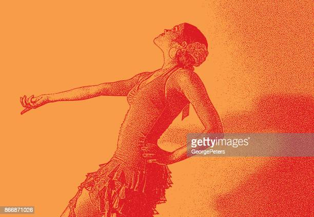 mixed race woman salsa dancing - samba stock illustrations