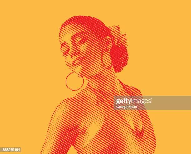 mixed race woman salsa dancing - samba dancing stock illustrations, clip art, cartoons, & icons