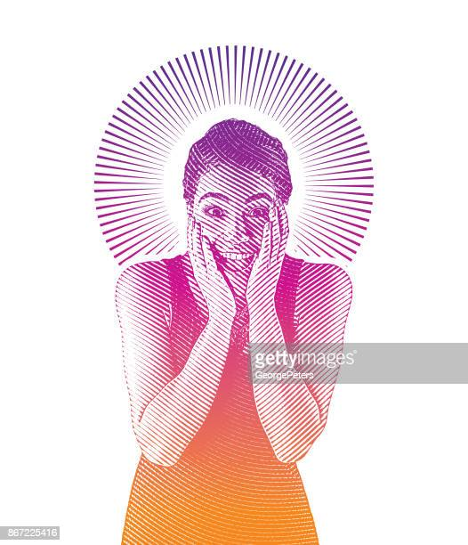 mixed race young woman with surprised expression - cuban ethnicity stock illustrations, clip art, cartoons, & icons