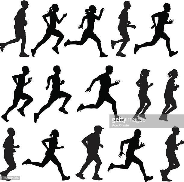 mixed runners in silhouette profiles - track event stock illustrations