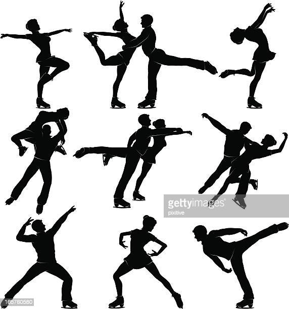 mixed skating silhouettes - figure skating stock illustrations