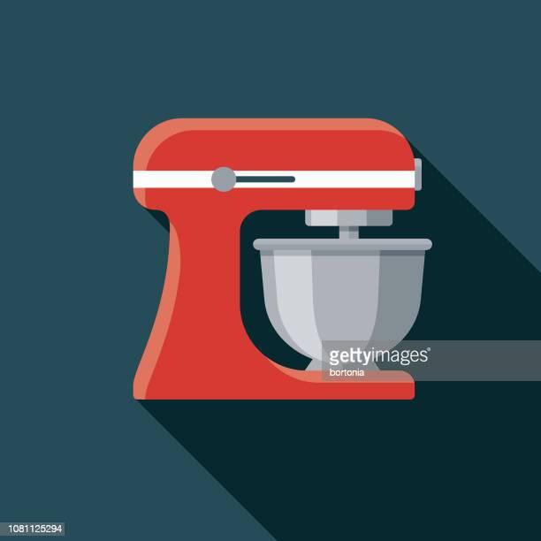 mixer flat design appliance icon - baked stock illustrations