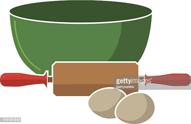 mixing bowl, rolling pin and eggs - baked stock illustrations, clip art, cartoons, & icons