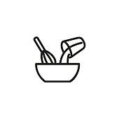 Mixing ingredients line icon