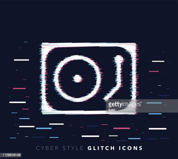 mixing music glitch effect vector icon illustration - film studio stock illustrations, clip art, cartoons, & icons