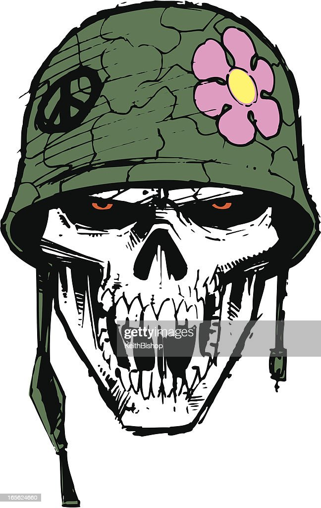 Mlitary Army Skull with Helmet and Flower