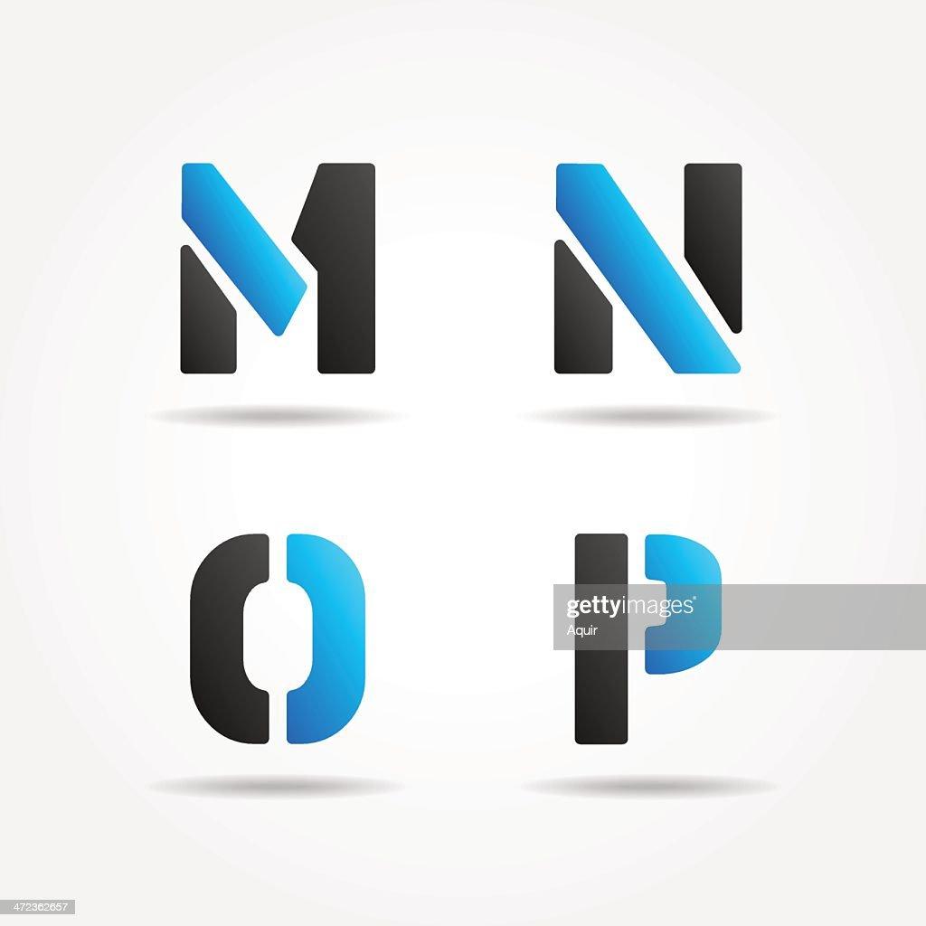 mnop blue stencil letters