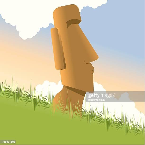 moai easter island - easter island stock illustrations, clip art, cartoons, & icons