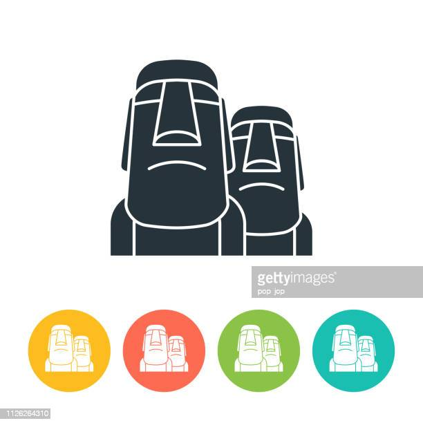 moai flat icon - color illustration - easter island stock illustrations, clip art, cartoons, & icons
