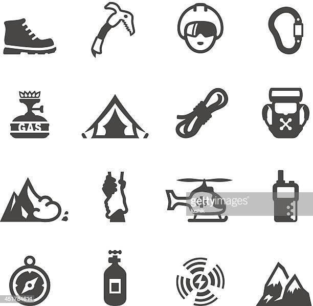 mobico icons - climbing - climbing equipment stock illustrations