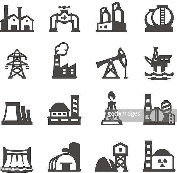 mobico icons - industrial building - oil pump stock illustrations, clip art, cartoons, & icons