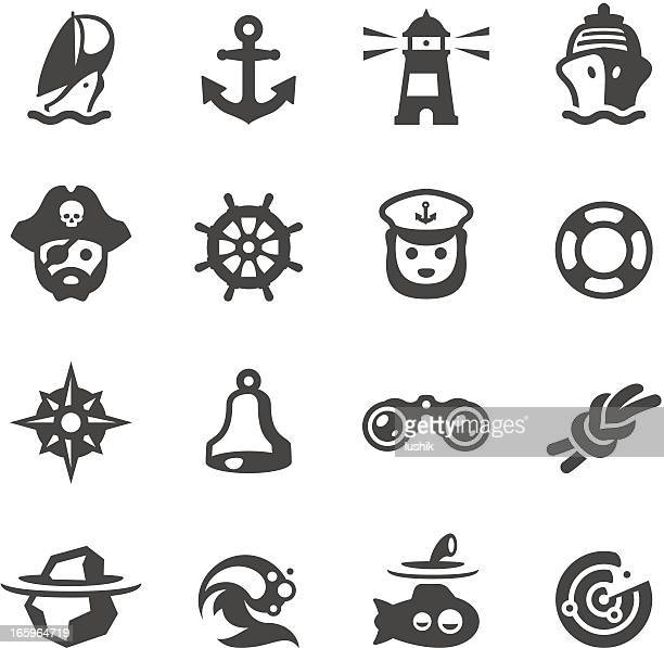 mobico icons - nautical - pirate boat stock illustrations, clip art, cartoons, & icons
