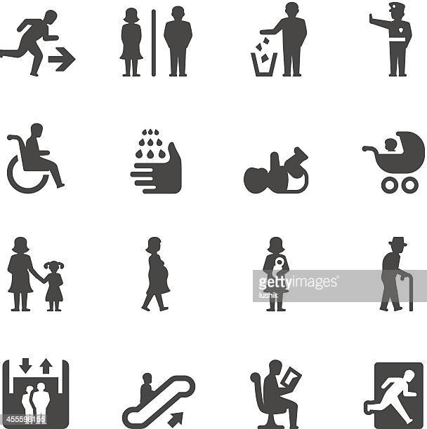 mobico icons — public places - wheelchair stock illustrations, clip art, cartoons, & icons