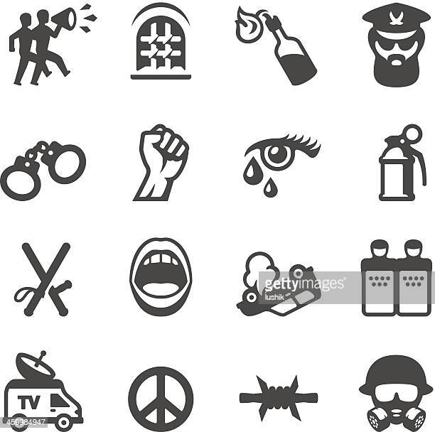 mobico icons - riot protest - political crowd stock illustrations