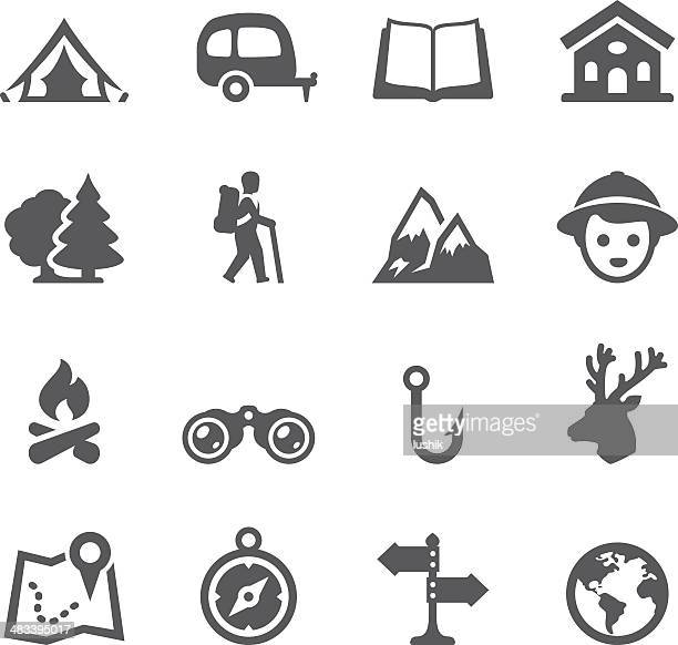 mobico icons - tourism and camping - tent stock illustrations, clip art, cartoons, & icons
