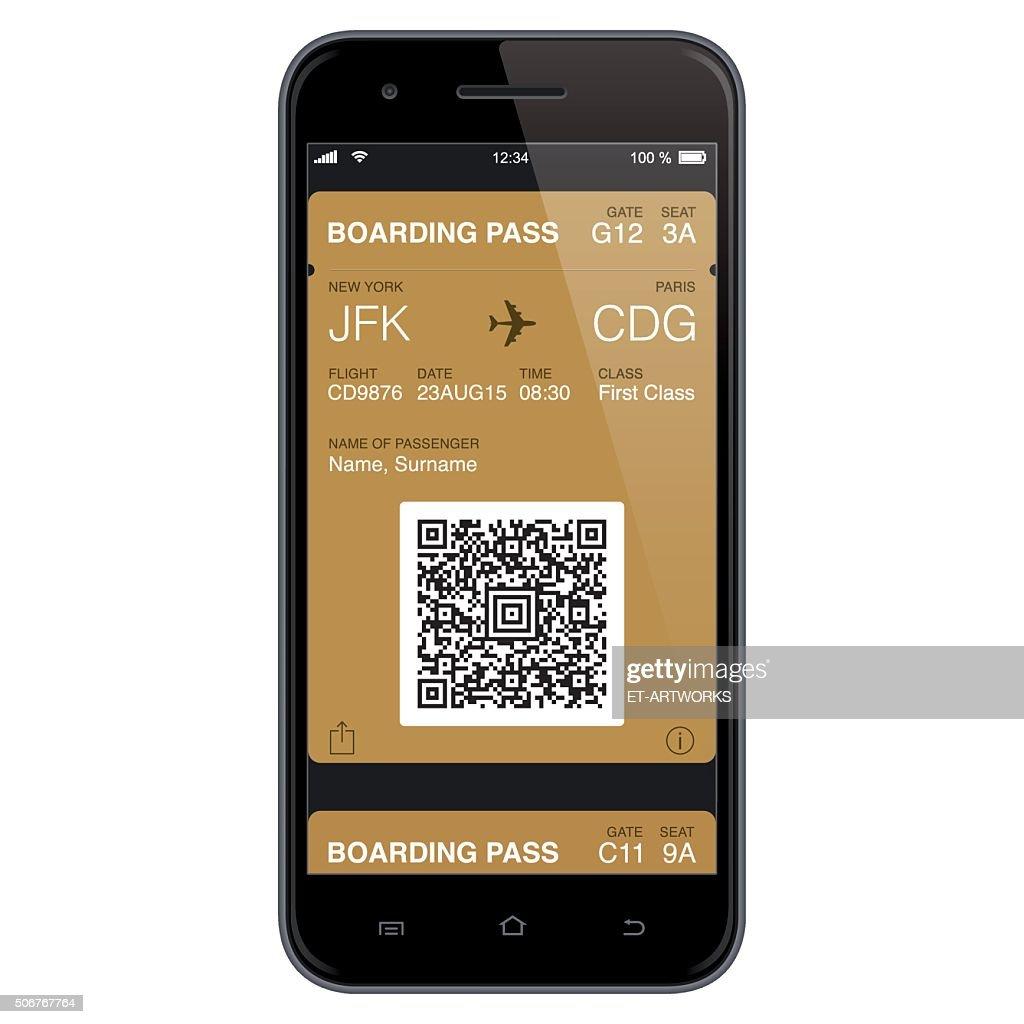 Mobil Boarding Pass Template. Vector