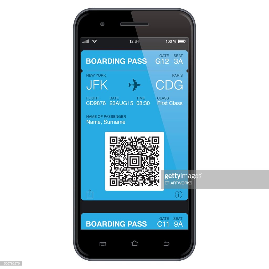 Mobil Boarding Pass Template. Vector