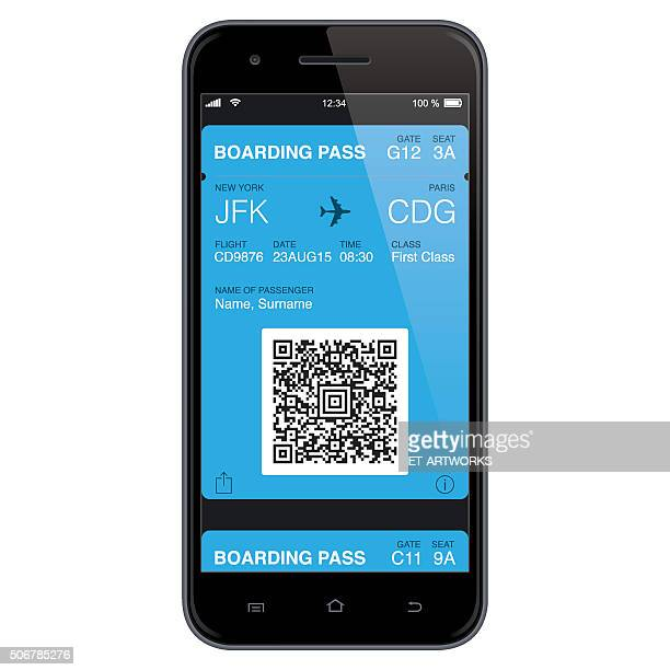 mobil boarding pass template. vector - boarding pass stock illustrations, clip art, cartoons, & icons