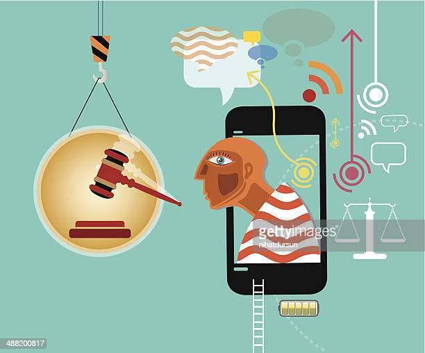ilustrações de stock, clip art, desenhos animados e ícones de mobil telefone e direito - proibido celular