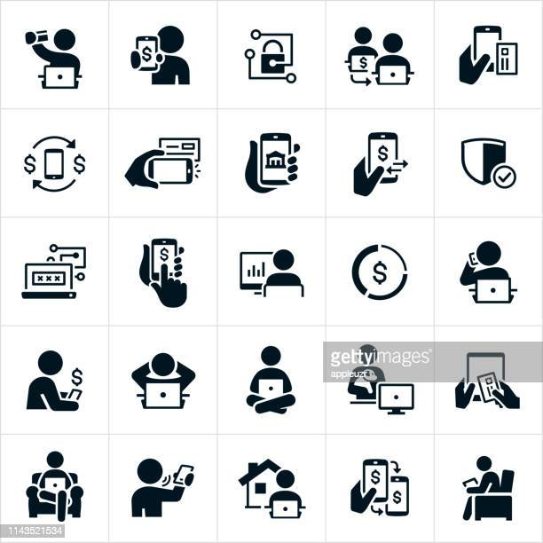 mobile and online banking icons - portable information device stock illustrations