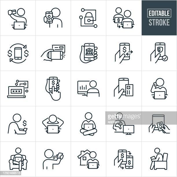 mobile und online banking thin line icons - editable stroke - einzahlungsbeleg stock-grafiken, -clipart, -cartoons und -symbole