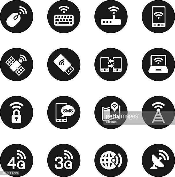 mobile and wireless technology  icons - black circle series - podcasting stock illustrations, clip art, cartoons, & icons