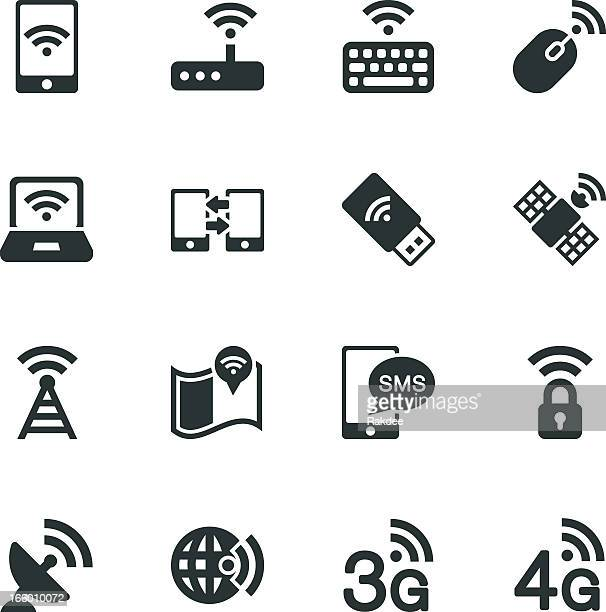 mobile and wireless technology silhouette icons - clip art stock illustrations