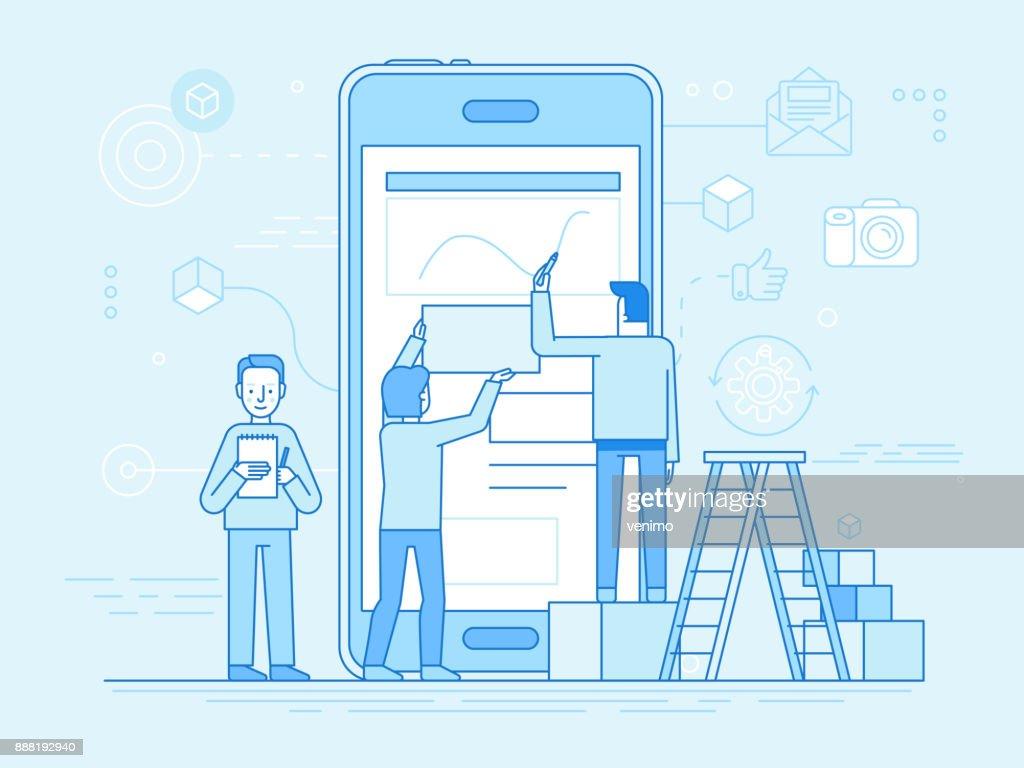 Mobile app design and user interface development concept