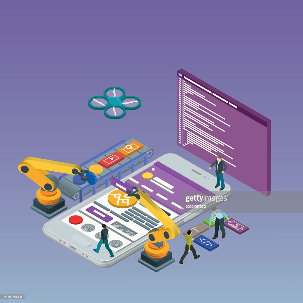 Mobile App Development, Experienced Team. Html code to the screen.