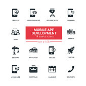 Mobile app development - flat design style icons set