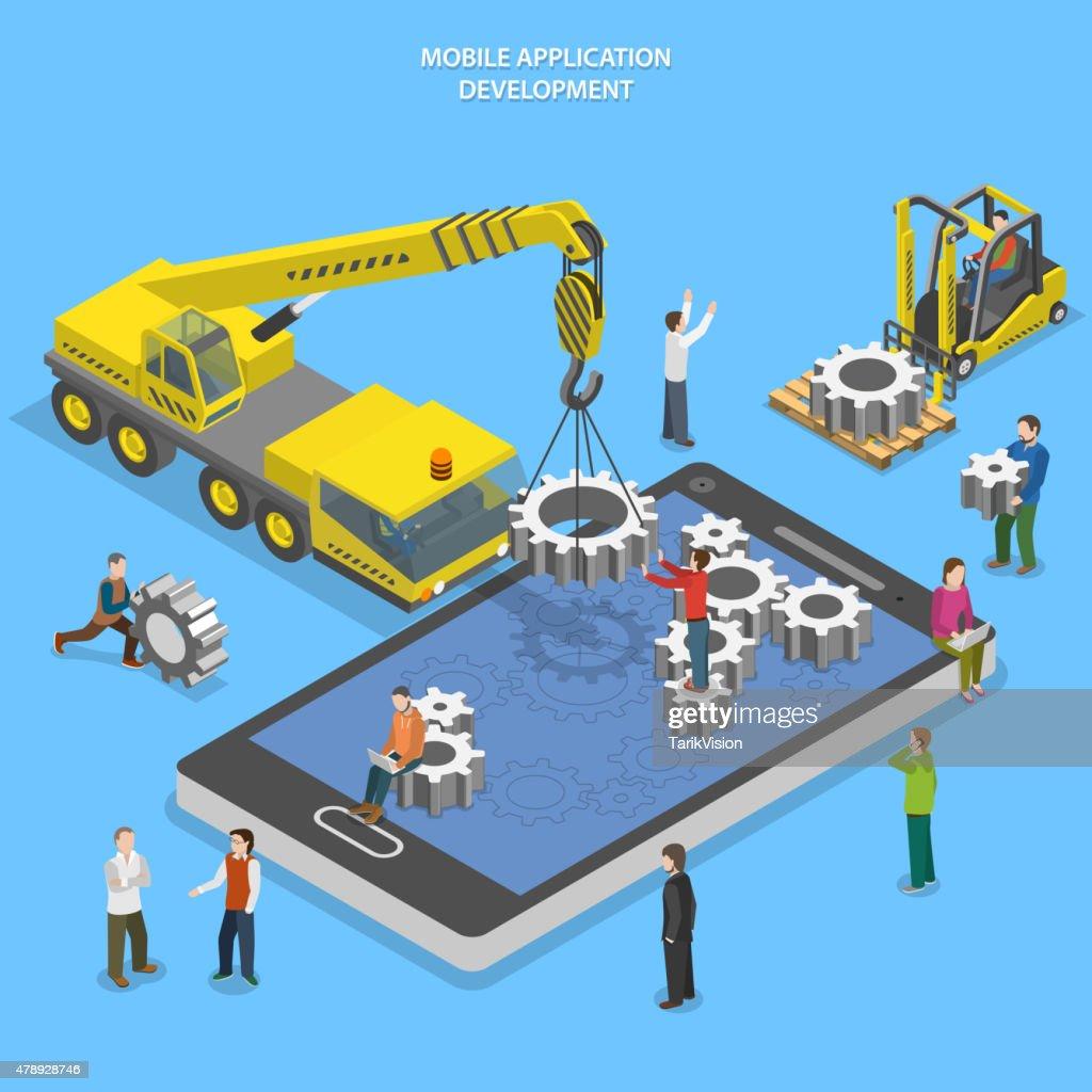 Mobile app development flat isometric vector