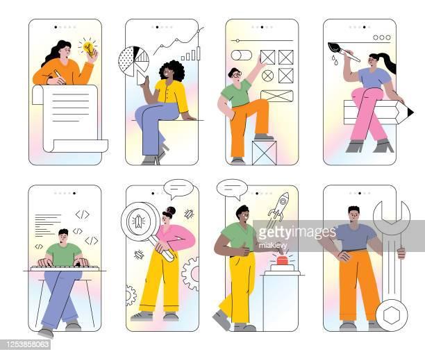 ilustrações, clipart, desenhos animados e ícones de conjunto de desenvolvimento de aplicativos móveis - ilustração e pintura