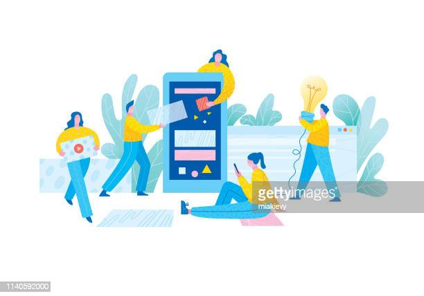 mobile app development team - using phone stock illustrations