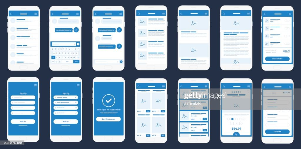 Mobile App Wireframe Ui Kit. Detailed wireframe for quick prototyping