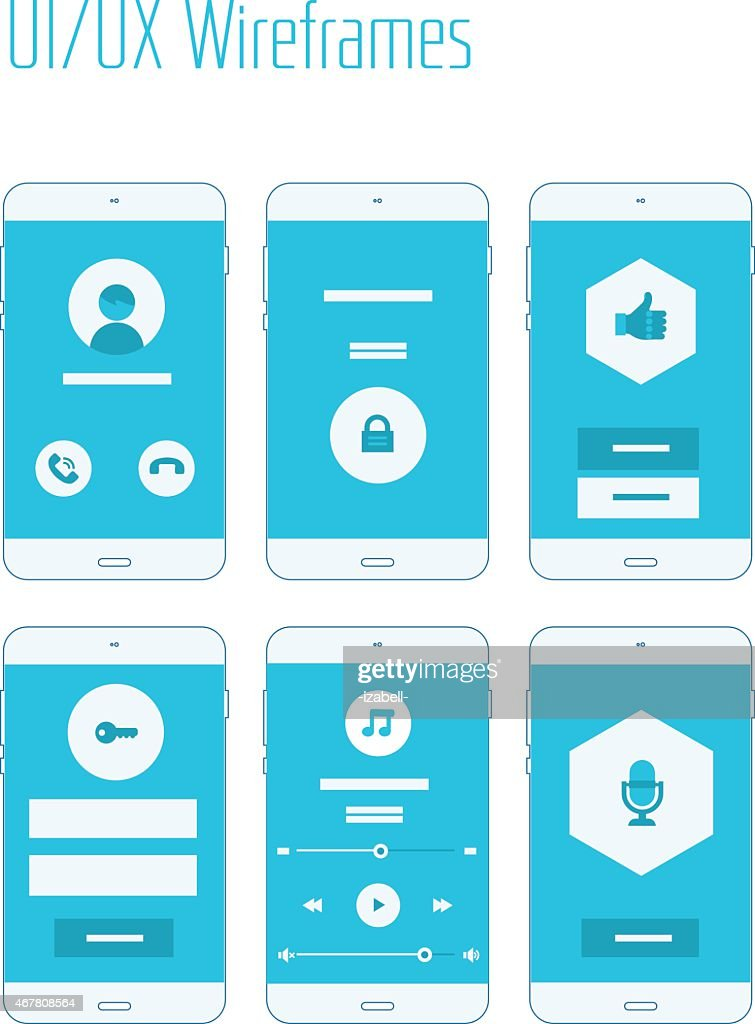 UI/UX mobile app wireframes