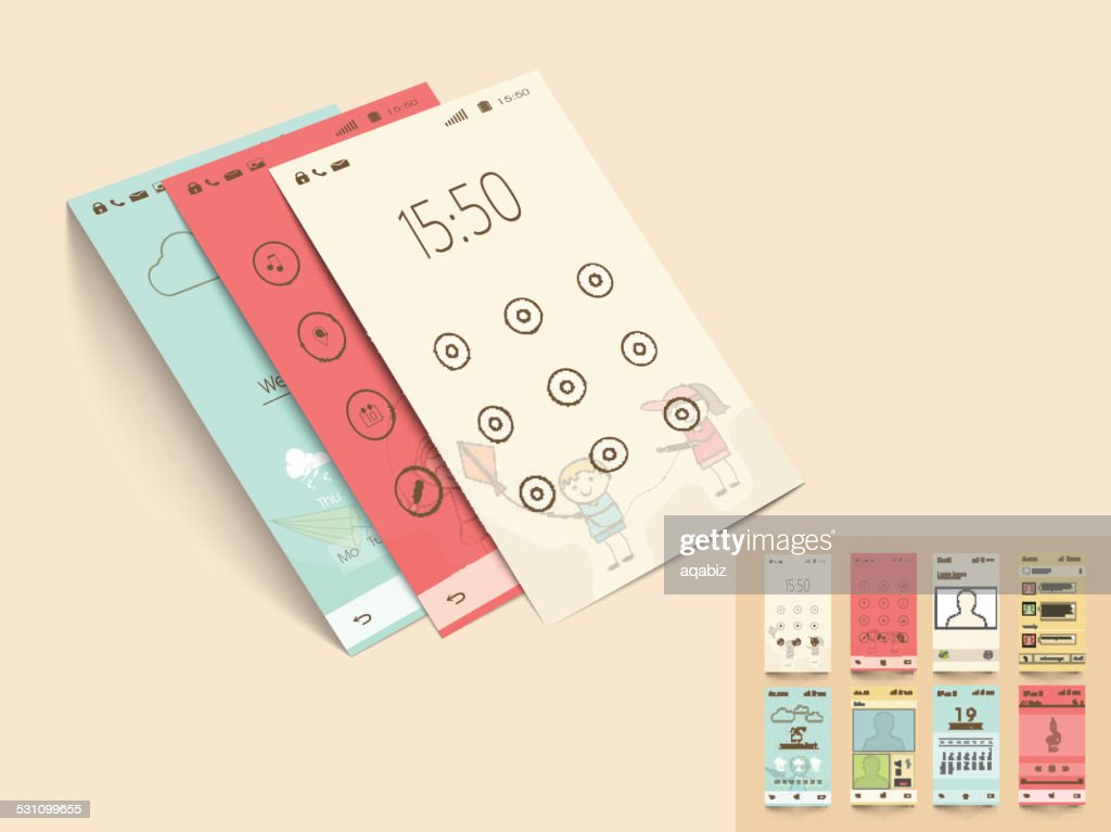 Mobile application templates for user interface.