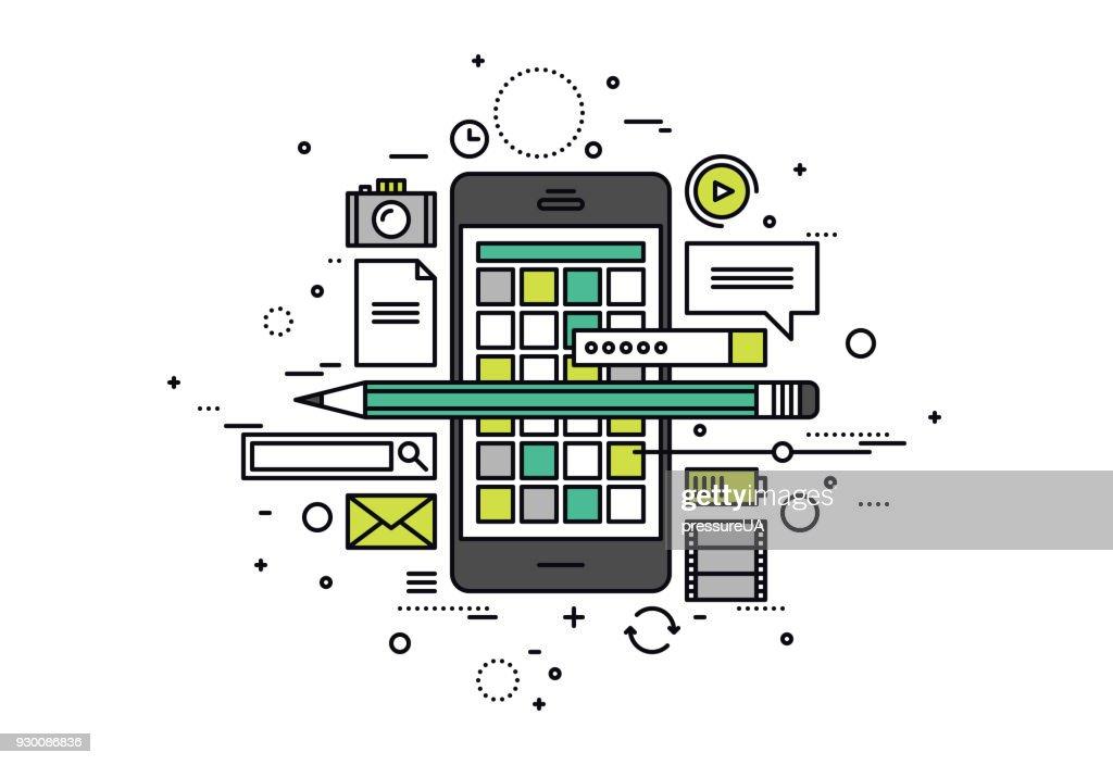 Mobile apps develop line style illustration