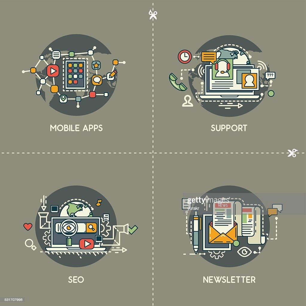 Mobile apps, support, SEO, newsletter