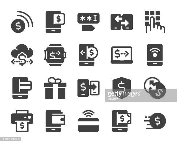 mobile banking and payment - icons - financial technology stock illustrations, clip art, cartoons, & icons