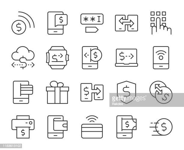 mobile banking and payment - light line icons - financial technology stock illustrations
