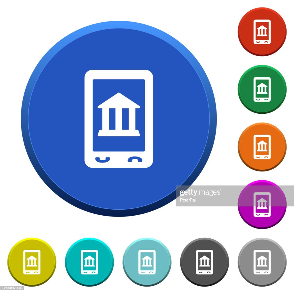 Mobile banking beveled buttons
