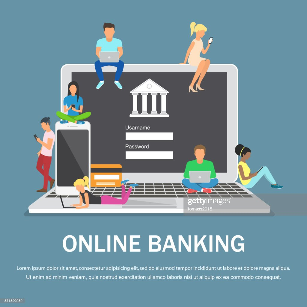 Mobile banking concept illustration of people using laptop and mobile smart phone for online banking