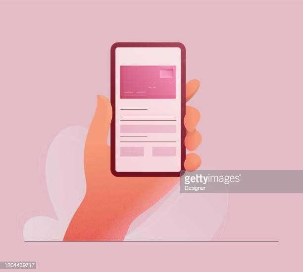 illustrazioni stock, clip art, cartoni animati e icone di tendenza di illustrazione vettoriale del concetto di mobile banking. design moderno piatto per pagina web, banner, presentazione ecc. - rosa pallido