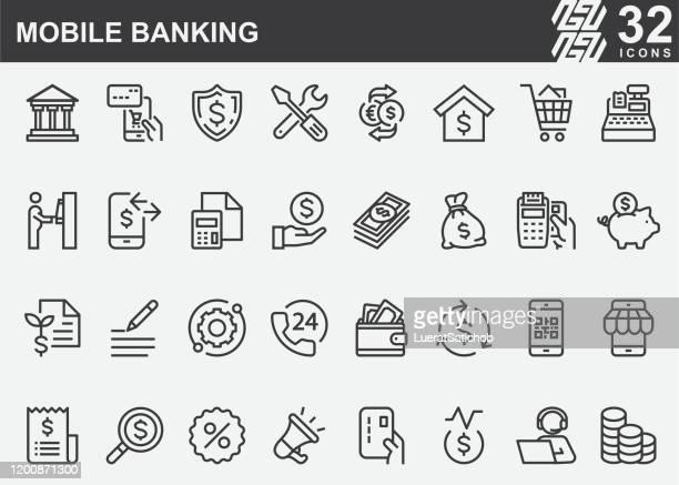 stockillustraties, clipart, cartoons en iconen met lijn pictogrammen voor mobiele bankieren - bankieren