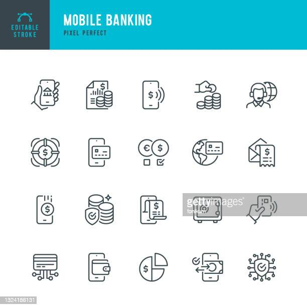 mobile banking - thin line vector icon set. pixel perfect. editable stroke. the set contains icons: banking, mobile phone, digital wallet, contactless payment, mobile payment, financial bill, deposit box, support. - paycheck protection stock illustrations